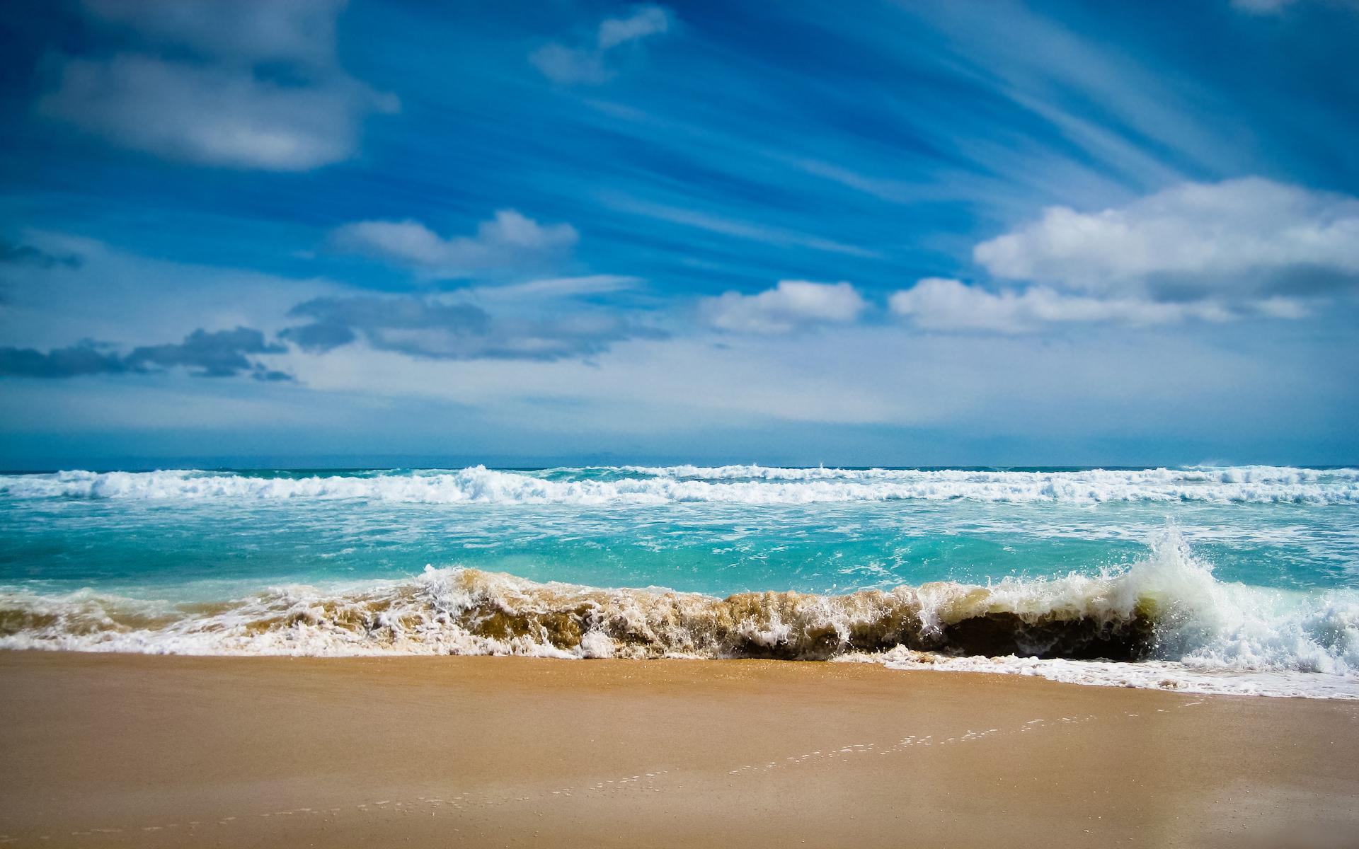 Mer, plage, ciel bleu